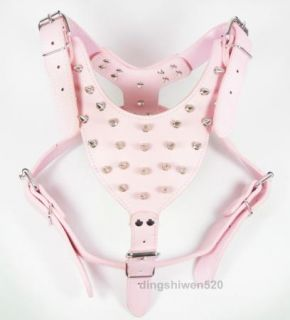 Spiked Studded Hot Pink Leather Dog Harness Large Dog Pitbull Bully Husky Boxer