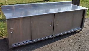 "8 Foot Long Heavy Duty Stainless Steel 4 Door Cabinet Work Prep Table 96"" x 30"""