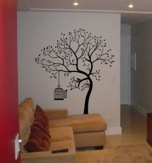 Wall Decal Big Tree Bird w Cage Deco Art Sticker Mural