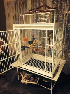 Used Large White Bird Cage Tree Stand Toys as Is
