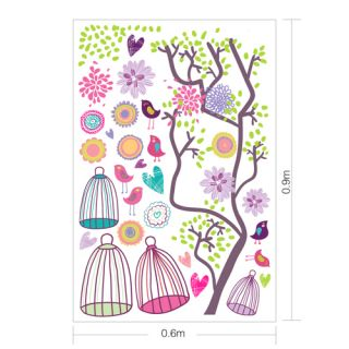 Large Bird Cage Flower Tree Colorful Kids Wall Decals Stickers Vinyl Removable