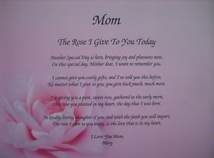 Mom Poem The Perfect Personalized Gift for Birthday Christmas Mother's Day