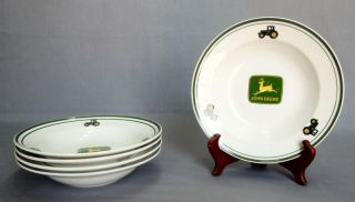 Gibson John Deere Tractor 5 Green Rim Soup Bowls Discontinued
