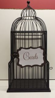 Wedding Decor Black Metal Bird Cage Large 25 inches Tall Complete