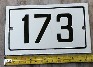 173 Stylish Antique Black White Enamel Number Plate Door Sign Street