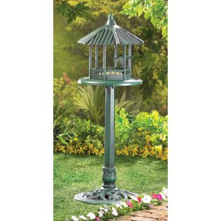 Verdigris Gazebo Free Standing Outdoor Bird Seed Feeder Garden Patio Decor