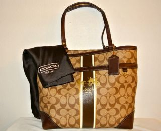 Coach 12358 Tan Brown Signature Heritage Stripe Tote Handbag and Cover Bag