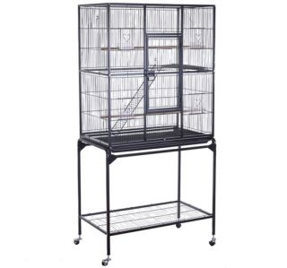 New Play Top Bird Cage w Stand Feeder Bowls Aviary Cockatiel Parakeet