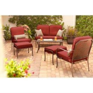 Hampton Bay Fall River 4 Piece Patio Seating Set with Dragon Fruit Cushions