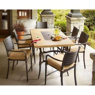 Hampton Bay Madison 7pc Patio High Dining Set w Textured Golden Wheat Cushions