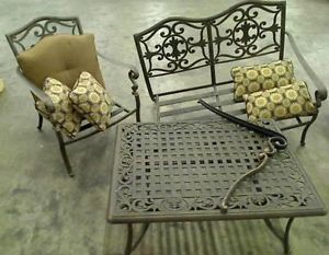 Hampton Bay Edington Patio Seating Set with Textured Umber Cushions $699 99