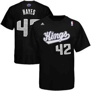 Adidas Chuck Hayes Sacramento Kings 42 Net Number Player T Shirt Black