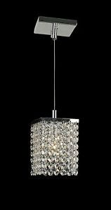 "Prism 1 Light Chrome Finish Hanging Crystal Modern Mini Pendant Lighting 5"" W"