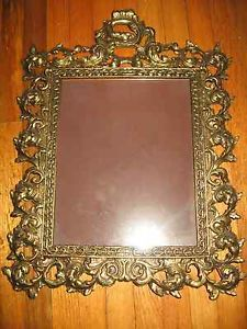 Large Ornate Antique Fine Art Nouveau Victorian Cast Metal Brass Picture Frame