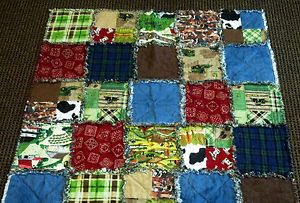 "43"" x 43"" Baby Rag Quilt Farm Animals Tractor John Deere Handmade Country Plaid"