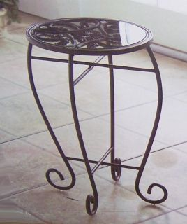 "Lifestyle Black Metal Scrolled Round 18"" Plant Stand Pedestal Accent Table"