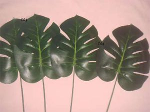 10pcs Artificial Monstera Branch Tree Spray Fake Plant Faux Foliage Leaves