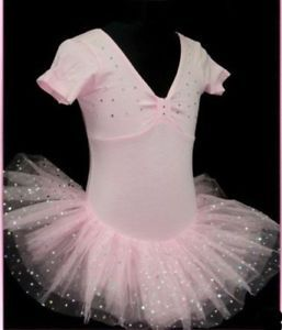 Pink Girls Fairy Party Ballet Costume Tutu Leotard Skirt Dance Dress Sz 7 8Y