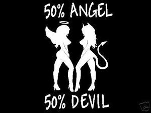 50 Angel 50 Devil Mudflap Girls Car Truck Window Mirror Vinyl Decal Sticker