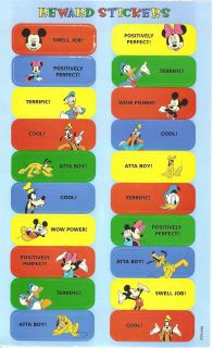 Sandylion Mickey Mouse Gang Reward Stickers Lot of 10 Maxi Sheets Vintage