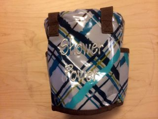 Thirty One Round About Caddy Shower Power Utility Tote Bag Sea Plaid New 31 Gift