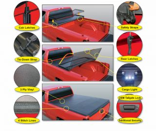 05 13 Honda Ridgeline with Out Bed Extender Vinyl Folding Tonneau Cover