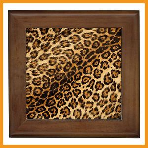 New Brown Leopard Print Kitchen Wall Decor Ceramic Tile Plaque Decorative Art