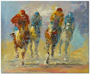 "50x60cm Original Abstract Palette Knife Oil Painting ""Horse Racing Polo Jockey"""