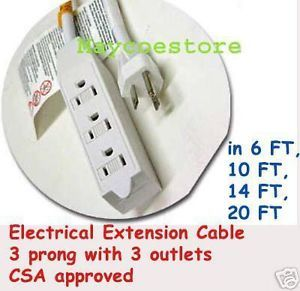 20 ft 6M Power Electrical Extension Cord 3 Outlet 3P