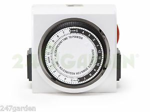 Dual Outlet Grounded Timer Hydroponics and Indoor Gardening Control Timer