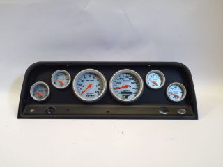 64 Chevy Truck Black Dash Carrier Pane w Ultra Lite Mechanical Gauges