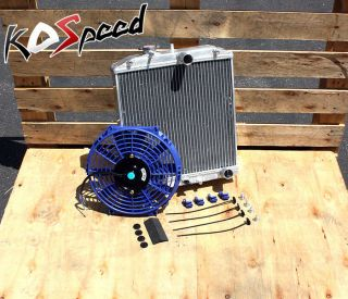 "Aluminum Radiator 92 00 Honda Civic Del Sol EG EK 3 Row 60mm D15 D16 10""Blue Fan"