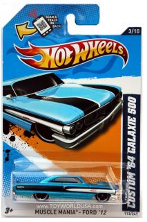 2012 Hot Wheels Muscle Mania Ford 113 Custom 1964 Galaxie 500 Blue
