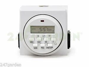 7 Day Dual Outlet Digital Timer Hydroponics and Indoor Gardening Timer Control