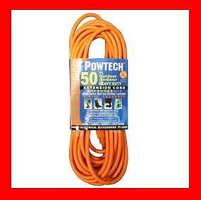 50' Foot Outlet Electrical Extension Power Cord Outdoor Indoor