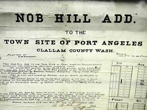 1890 Antique Historical Clallam County WA Port Angeles NOB Hill Document Map WOW