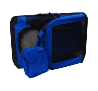 "New 36"" Blue Portable Folding Dog Cat Pet Carrier Tote Crate Dog Cage w Mat"