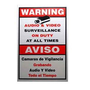 "9""x11"" Video Surveillance Warning Sign Decal for CCTV Security Camera System"