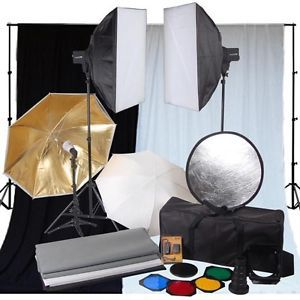 Photo Studio 3 Flash Strobe Softbox Backdrop Lighting Kit Photography Light Set