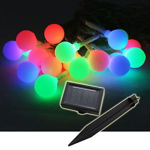 20 Colored Balls Waterproof Solar LED String Lights Christmas Fairy Multi Color