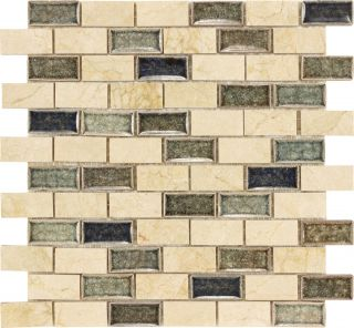 1x2 Brick Style Crema Marfil Marble Ceramic Blue Tones Crackle Glass Mosaic Tile