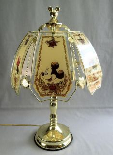 Disney Mickey Minnie Mouse Touch Table Lamp Glass Brass