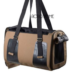 "18"" Pet Dog Cat Travel Bag Carrier Crate Faux Leather Purse Carrier Coffee D300"