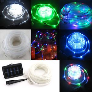 Solar Power Rope 100LEDS Light Tube String Ourdoor Garden Fairy Party Waterproof
