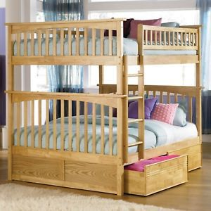 Kids Youth Wood Bunk Bed Full Over Full Storage Trundle