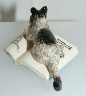 Klima Miniature Porcelain Black Grey Cat with Mouse on Book K442