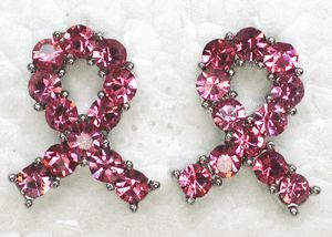 Pink Rhinestone Crystal Breast Cancer Ribbon Earring A75
