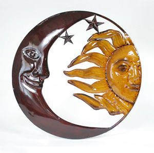 Sun Moon Sculpture Wall Hanging Indoor Outdoor Metal Art Decor Accents