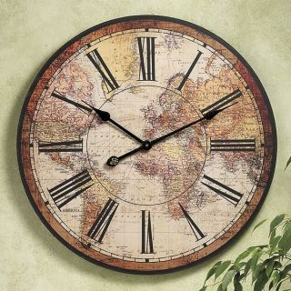 "Large 23 5"" World Map Clock Hanging Map Wall Clock New"