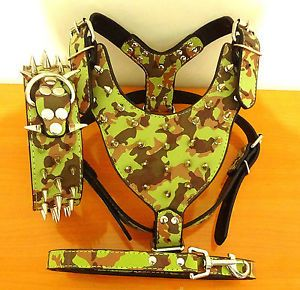 New Camouflage Leather Spiked Dog Collar Studs Harness Leash Set Pitbull Terrier